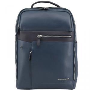 Piquadro Navy Blue Leather Backpack