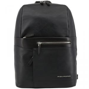 Piquadro Black Leather Backpack