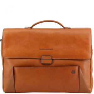Piquadro Brown Leather Briefcase
