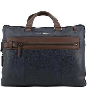 Piquadro Two Tone Leather Briefcase