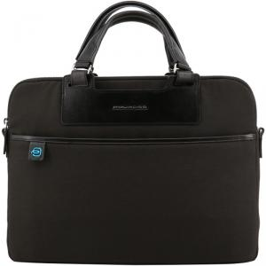 Piquadro Two Tone Fabric and Leather Briefcase
