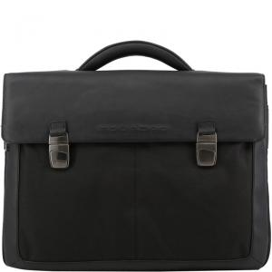 Piquadro Black Nylon and Leather Briefcase