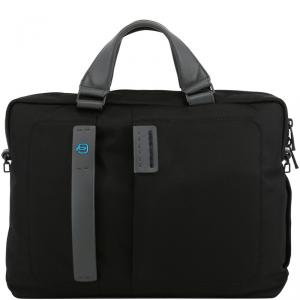 Piquadro Black Fabric and Leather Briefcase