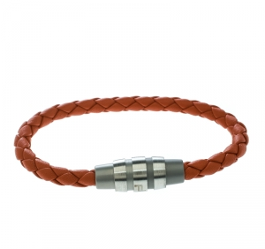 Porsche Design Grooves Orange Braided Leather Stainless Steel Bracelet