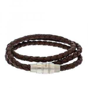 Porsche Design Grooves Brown Leather Stainless Steel Triple Wrap Bracelet