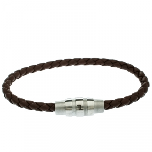 Porsche Design Grooves Brown Braided Leather Stainless Steel Bracelet