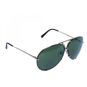 Porsche Design Silver/Dark Green P'8487 Aviator Sunglasses