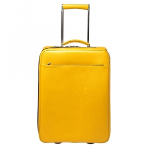 Porsche Design Yellow Leather Trolley Suitcase