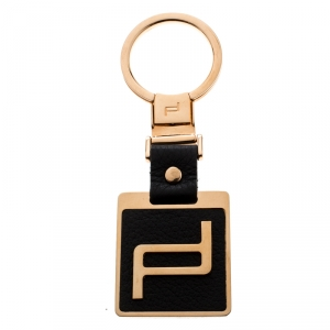Porsche Design Black Leather Icon Rose Gold Tone Key Ring