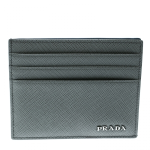 Prada Grey Saffiano Leather Card Holder