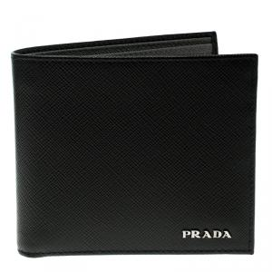 Prada Black Saffiano Bicolo Leather Bifold Wallet