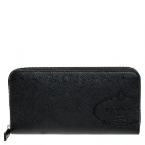 Prada Black Saffiano Leather Zip Around Wallet