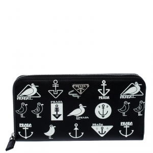 Prada Black/White  Seagull Print Saffiano Leather Zip Around Wallet