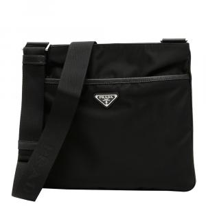 Prada Black Nylon Messenger Travel Bag