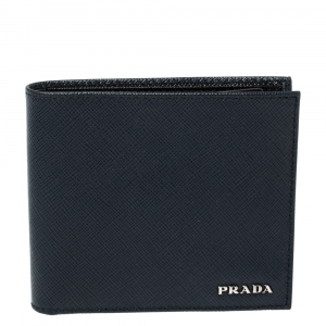 Prada Navy Blue Saffiano Lux Leather Bifold Compact Wallet