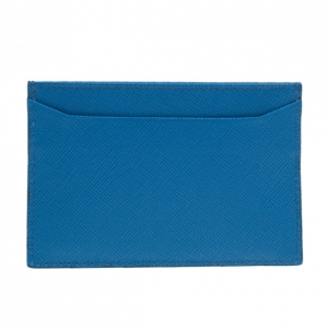 Prada Blue Saffiano Credit Card Holder