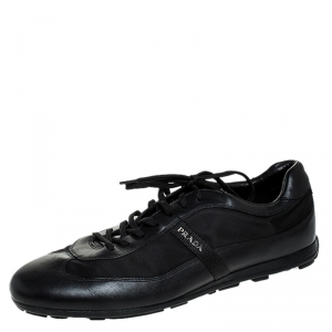 Prada Black Leather And Nylon Lace Up Sneakers Size 44
