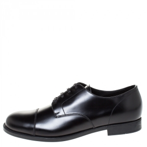 Prada Black Leather Oxfords Size 41.5