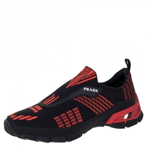 Prada Black/Orange Knit Fabric Cross Action Sneakers Size 41