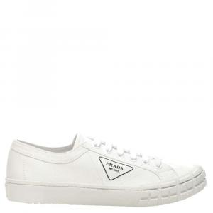 Prada White Gabardine Fabric Wheel Sneakers Size EU 43 UK 9