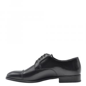 Prada Black Leather Classic Derby Shoes Size UK 6.5