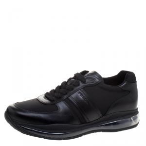 Prada Sport Black Leather And Nylon Sneakers Size 42