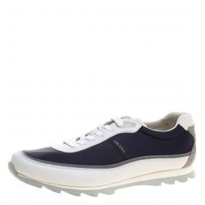 Prada Sport Tricolor Fabric and Leather Low Top Sneakers Size 41.5