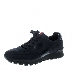 Prada Sport Dark Blue Canvas and Leather Sneakers Size 42.5
