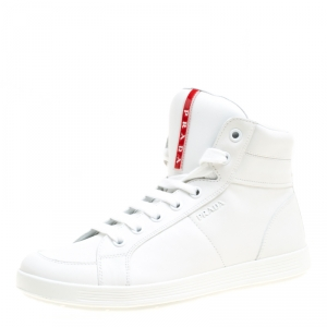 Prada Sport White Leather High Top Sneakers Size 41