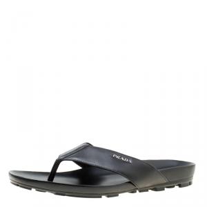 Prada Sport Black Leather Thong Sandals Size 45