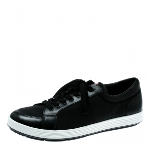 Prada Sport Black Fabric And Leather Sneakers Size 42