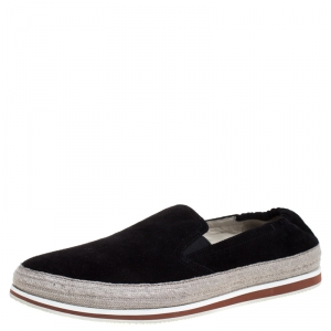 Prada Sport Black Suede Leather Espadrille Sneakers Size 41