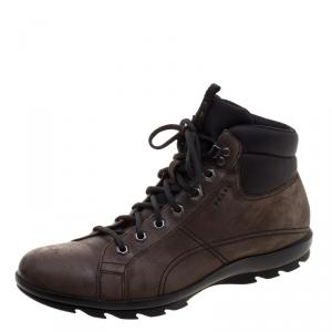 Prada Sport Graphite Brown Leather High Top Hiking Boots Size 42
