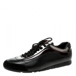 Prada Sport Black/Silver Leather and Suede Sneakers Size 42