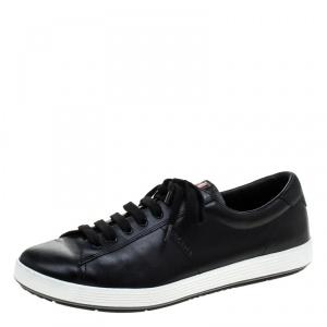 Prada Sport Black Leather Low Top Sneakers Size 42.5