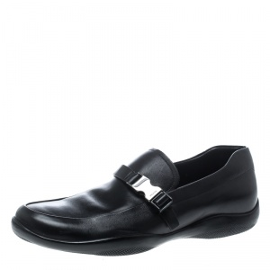 Prada Sport Black Leather Buckle Detail Loafers Size 43
