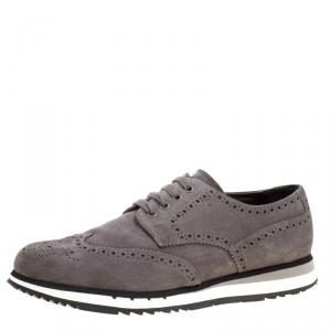 Prada Grey Brogue Suede Wingtip Detail Derby Sneakers Size 43.5