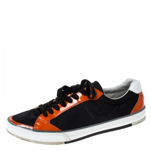Prada Sport Black/Orange Nylon and Patent Leather Lace Up Low Top Sneakers Size 45