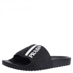 Prada Sport Black Rubber White Logo Embossed Pool Slides Size 41