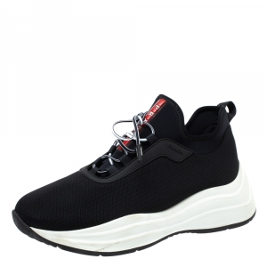 Prada Sport Black Knit Fabric Athletic Sneakers Size 40.5