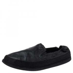 Prada Sports Black Leather Scrunch Slip On Sneakers Size 42