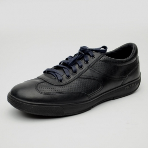 Prada Sport Black Leather Low Profile Sneakers Size 42