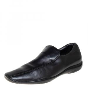 Prada Sports Black Leather Slip On Loafers Size 43