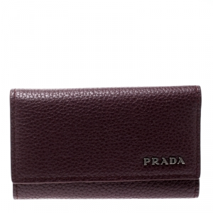 Prada Burgundy Leather 6 Key Holder
