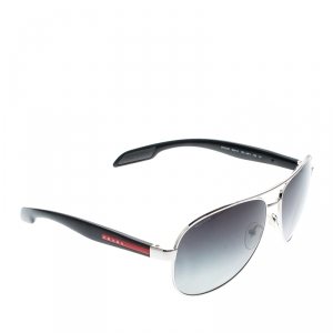 Prada Silver/ Black Gradient Polarized SPS53P Linea Rossa Aviator Sunglasses