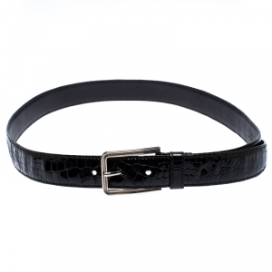Prada Black Croc Embossed Patent Leather Buckle Belt 95CM