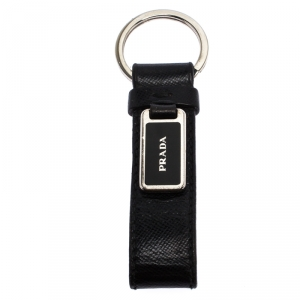 Prada Black Saffiano Leather Logo Key Chain