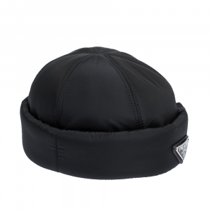 Prada Black Padded Nylon Beanie Hat M