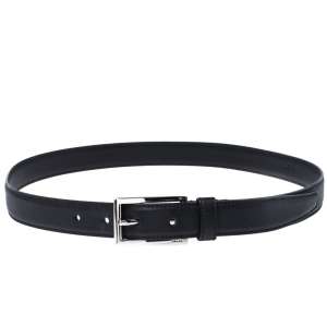 Prada Black Saffiano Leather Buckle Belt 90CM