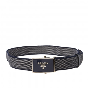 Prada Blue/Grey Woven Fabric Buckle Belt 95CM